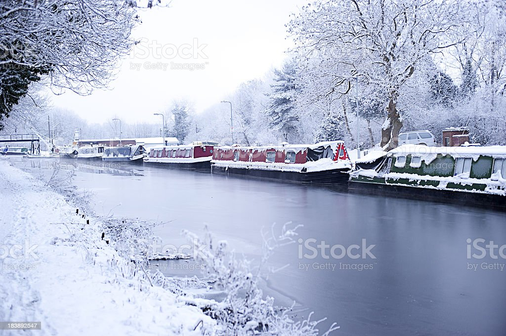 Frozen Canal in Wolverhampton stock photo
