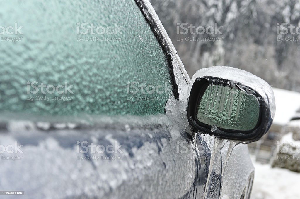Frozen car side-view mirror stock photo