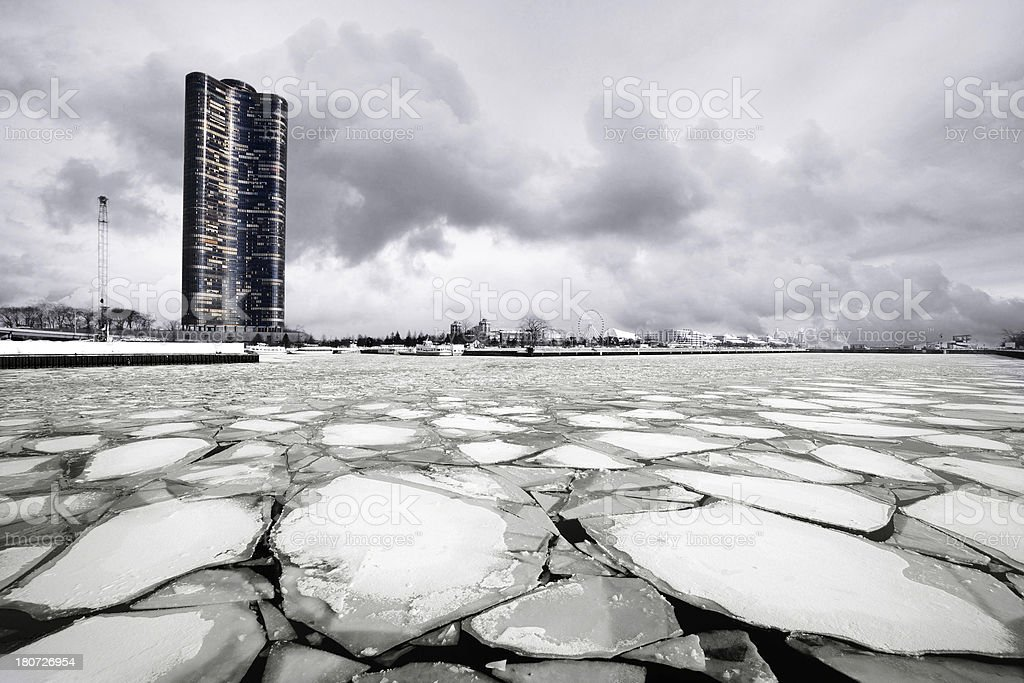 Frozen Chicago River and Lake Point Tower royalty-free stock photo