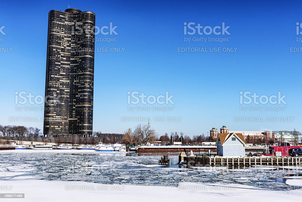 Frozen Chicago River and Lake Point Tower stock photo
