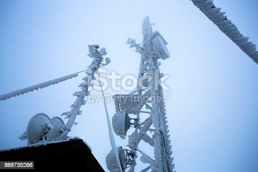 istock Frozen communicaton tower 888735266