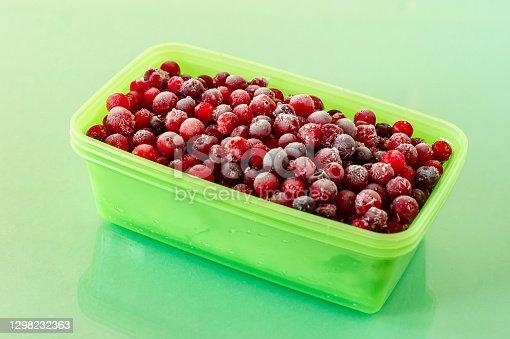 istock Frozen cranberries. Frozen organic berries for desserts and bakery 1298232363