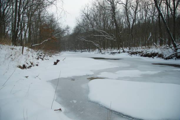 Frozen Creek in Winter stock photo