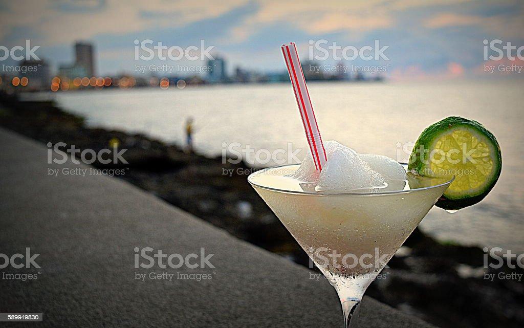 Frozen Daiquiri cocktail at the Malecon, Havana, Cuba stock photo