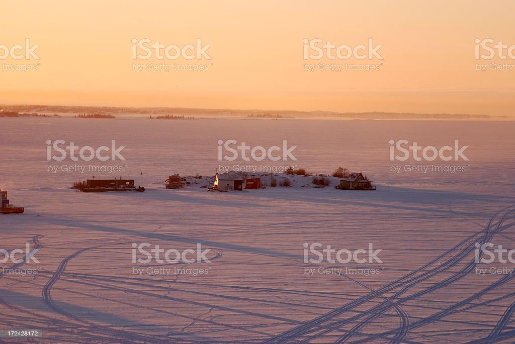 Frozen Dawn, Yellowknife. stock photo