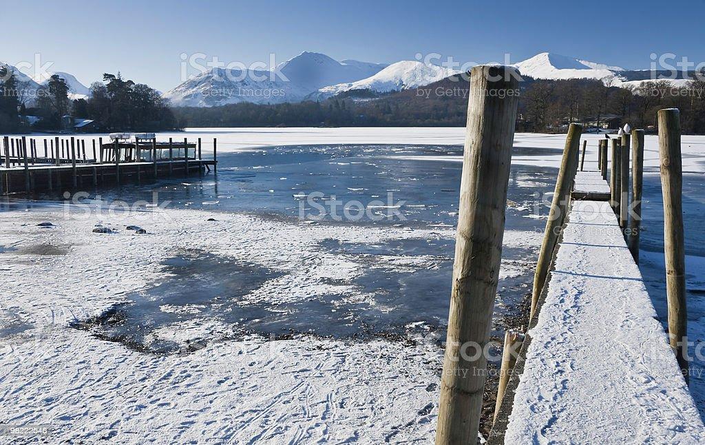 Congelato Derwentwater foto stock royalty-free