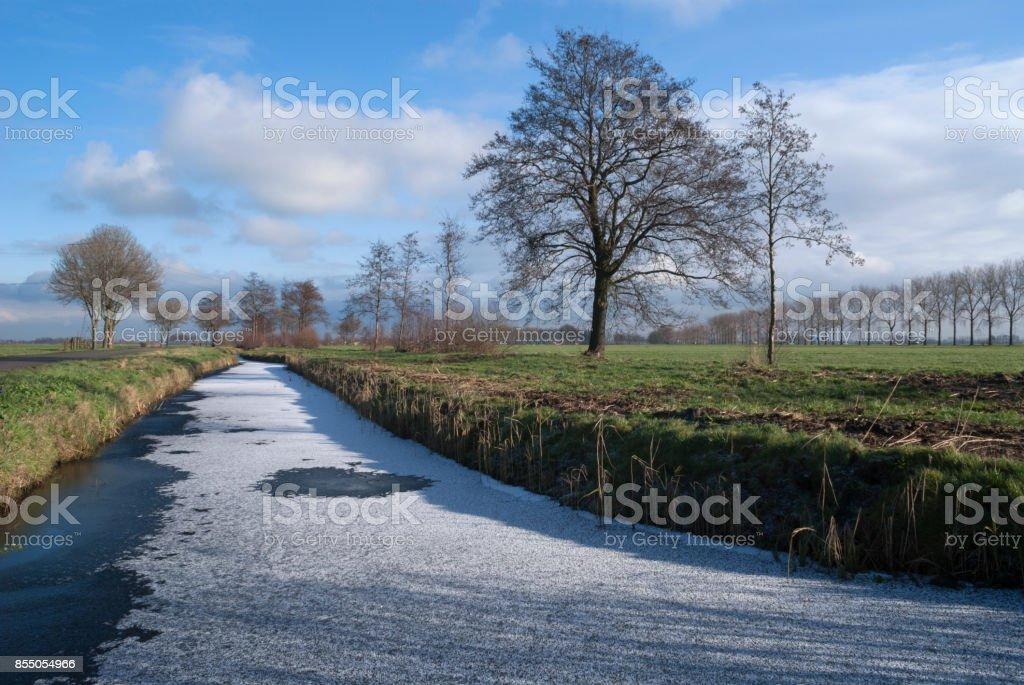 Frozen ditch near Wijngaarden stock photo