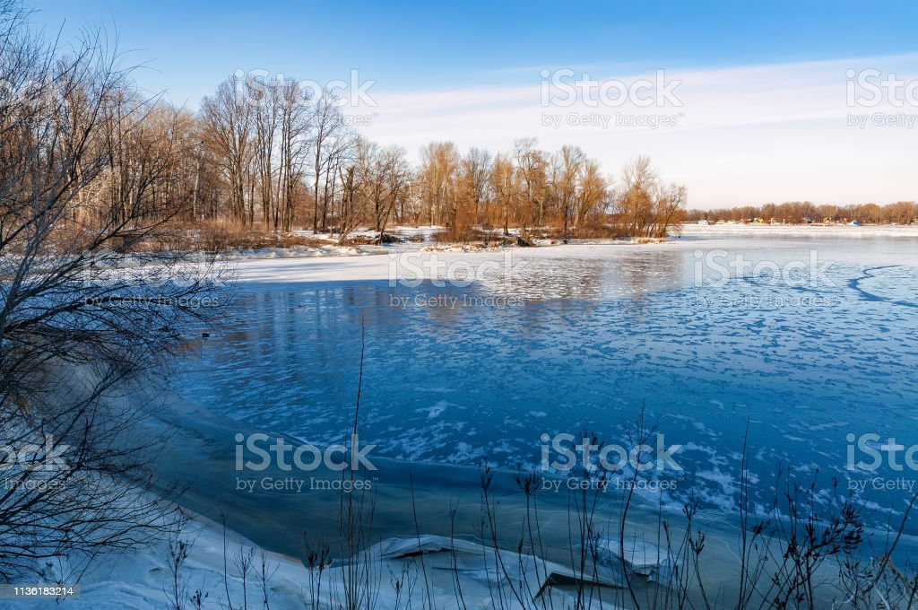 Frozen Dnieper River in Kiev
