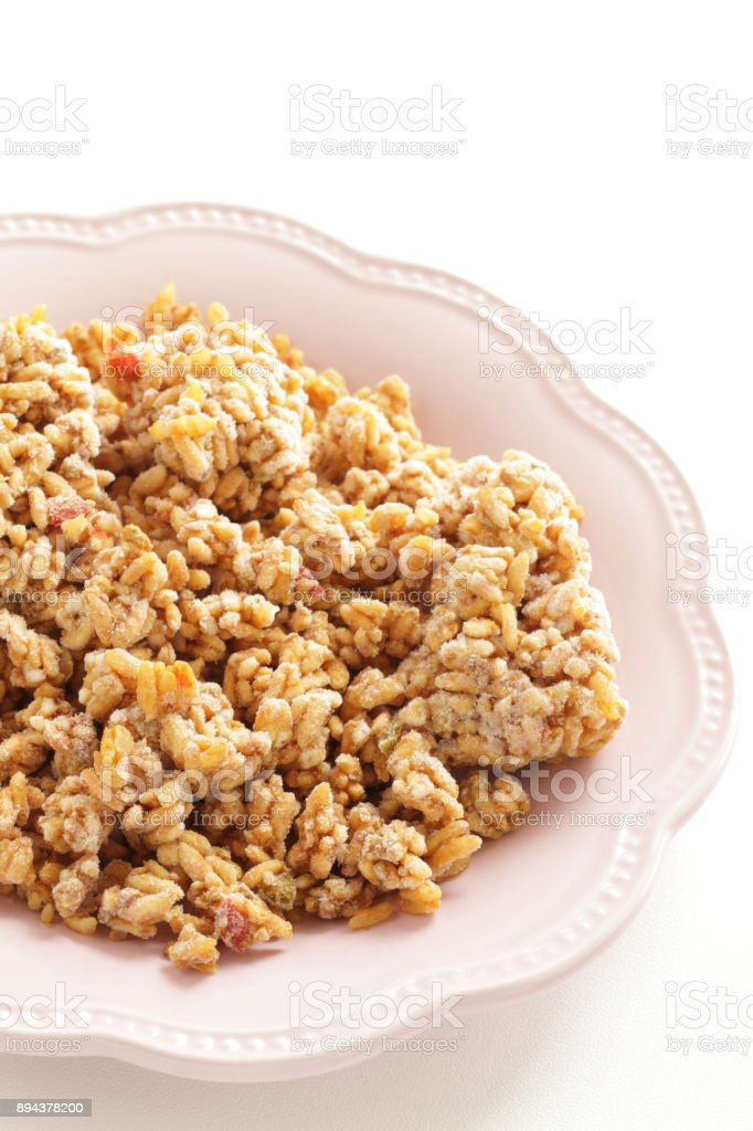Frozen dried Curry rice ball stock photo