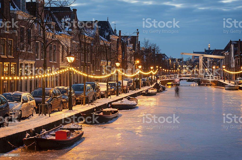 Frozen Dutch Canal stock photo