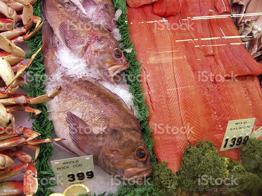 Frozen Fish in Display Case royalty-free stock photo