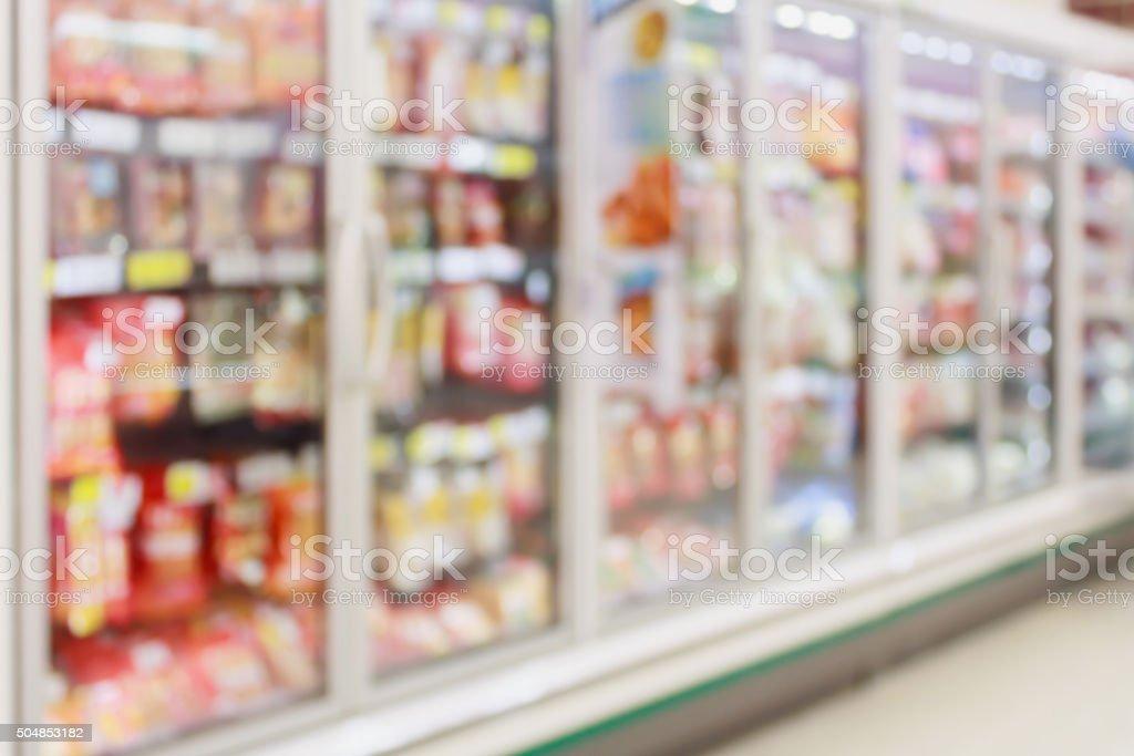 Photo De Stock De Aliment Surgele Section Dans Un Supermarche Flou