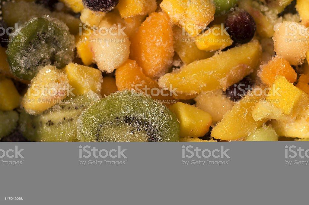 Frozen fruits - focus on detail stock photo