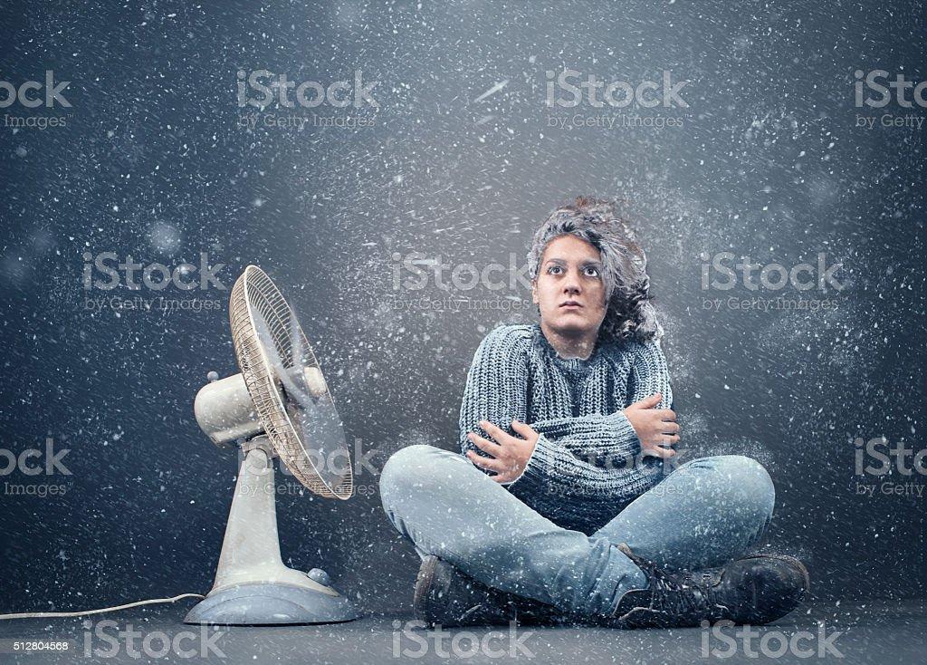 Frozen girl stock photo