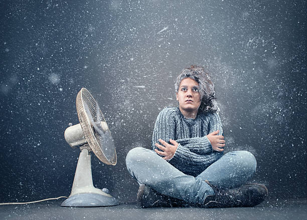 frozen girl - kvinna ventilationssystem bildbanksfoton och bilder