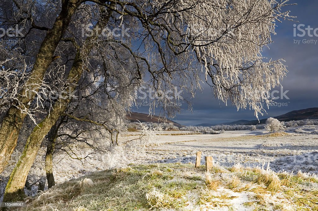 Frozen Glen Dochart stock photo