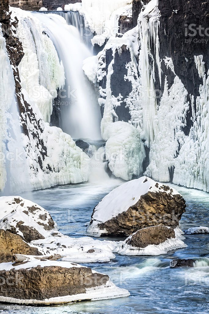 Frozen Great Falls of the Passaic River stock photo