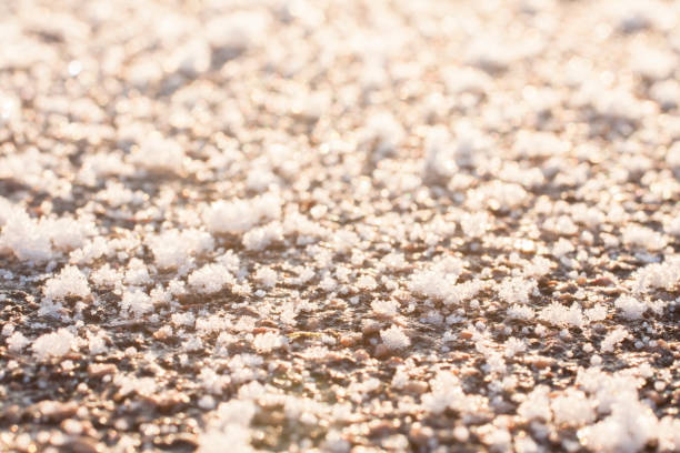 Frozen ground surface texture close up stock photo