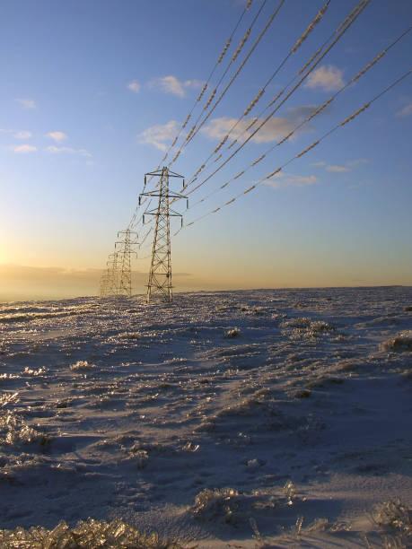 Frozen high voltage power lines, near Twmbarlwm, Cwmbran, Wales, UK stock photo