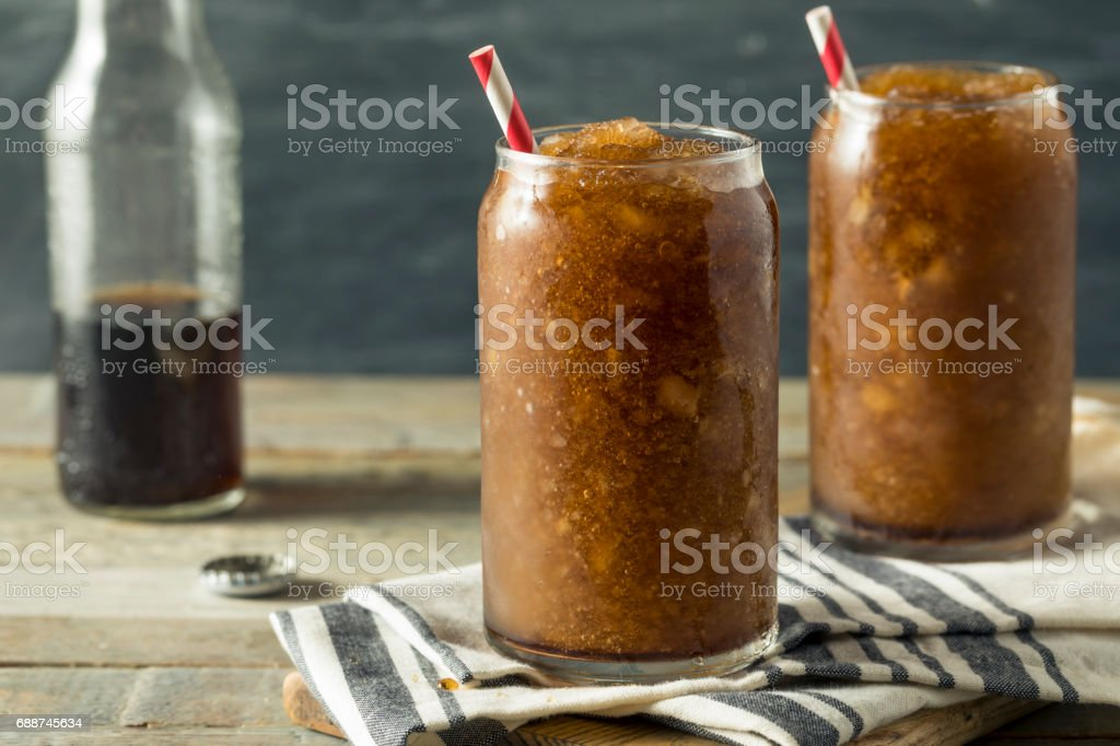 Frozen Homemade Soda Pop Slushy Drink stock photo