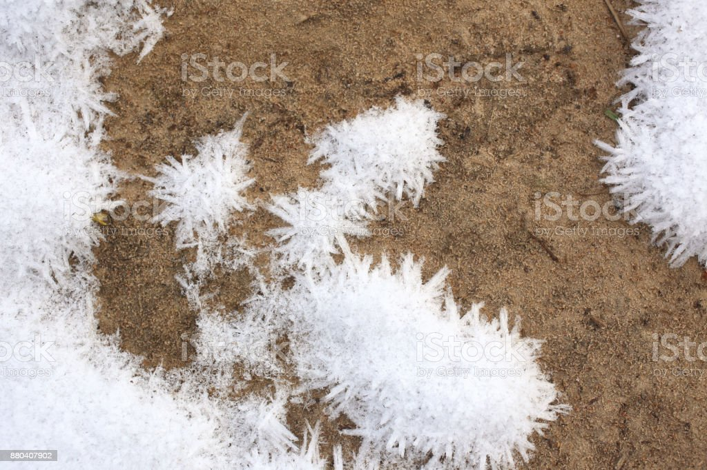 Frozen ice crystals on the ground stock photo
