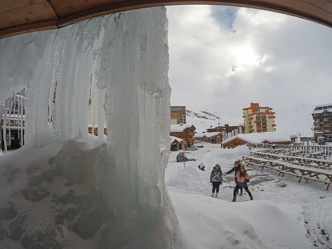Frozen ice from a balcony at Val Thorens
