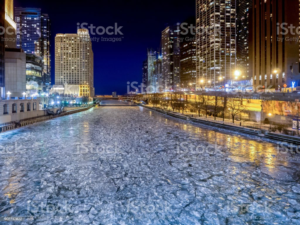 Frozen ice on the Chicago River during the coldest perios for over 100 years stock photo