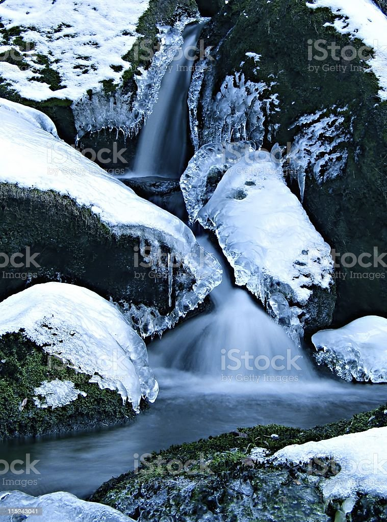 Frozen ice waterfall in Derbyshire, UK royalty-free stock photo