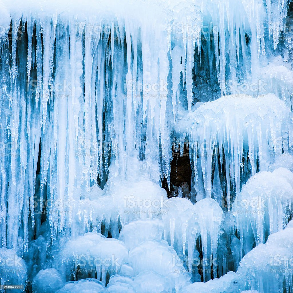 Frozen ice waterfall stock photo