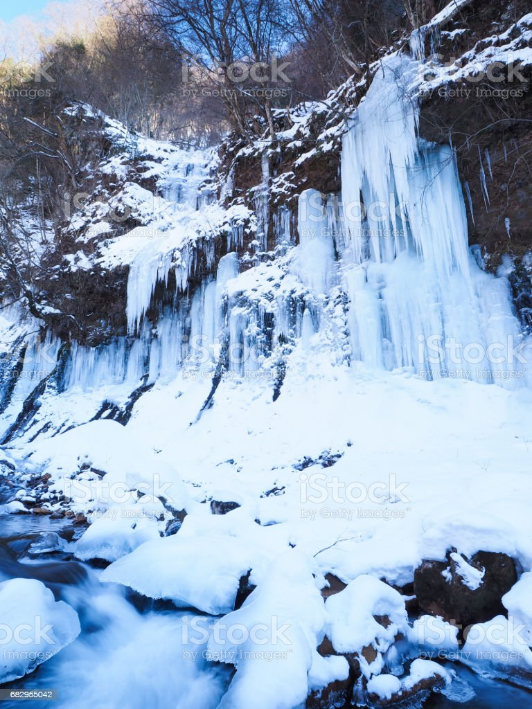 Frozen ice waterfall royalty-free stock photo