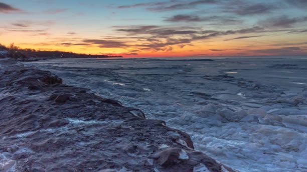 Frozen Iceberg, Lake Erie, Northeast Ohio stock photo