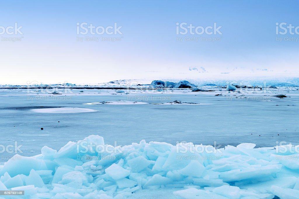 Frozen Jokulsarlon glacial lagoon in winter, Iceland stock photo