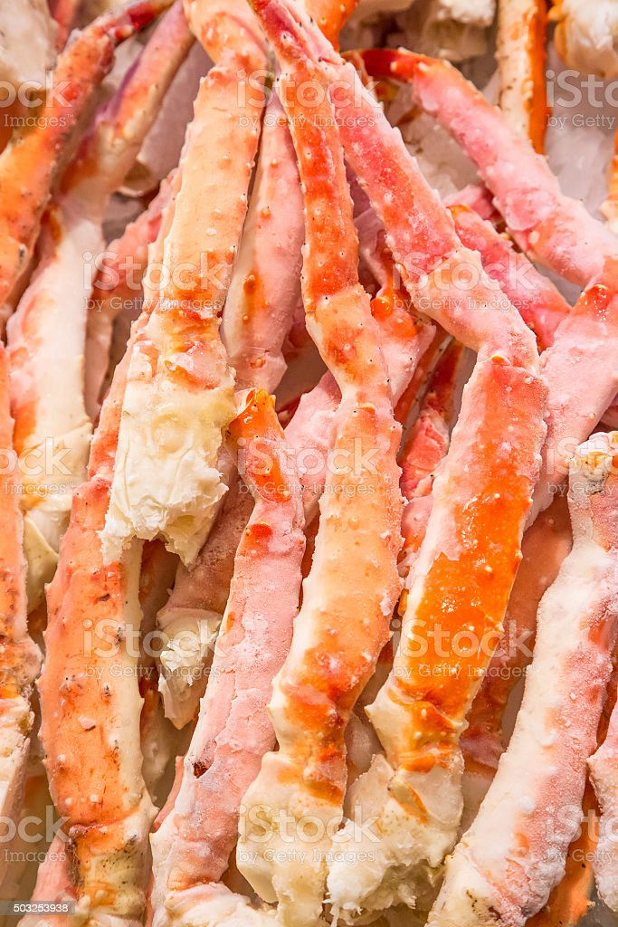 Frozen king crab legs in Pike place market stock photo