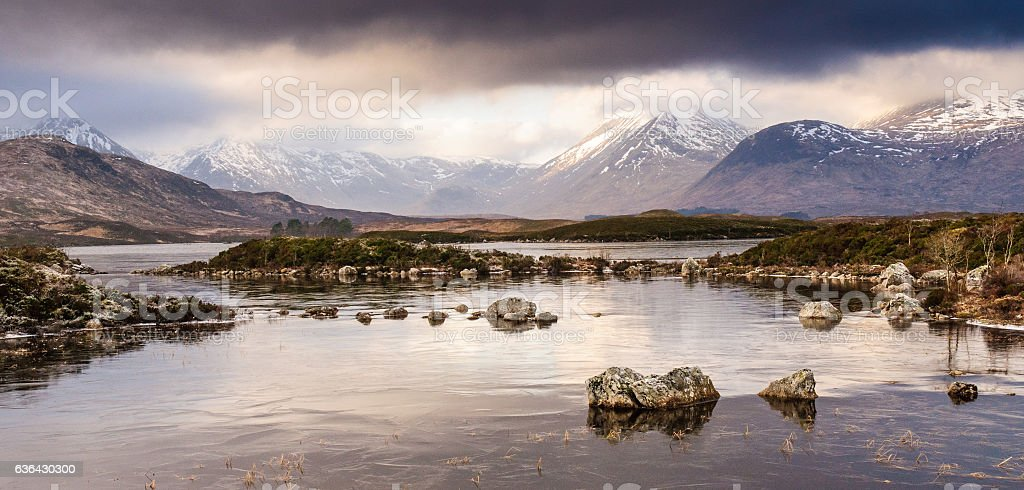 Frozen lake and mountains in the Highlands of Scotland stock photo