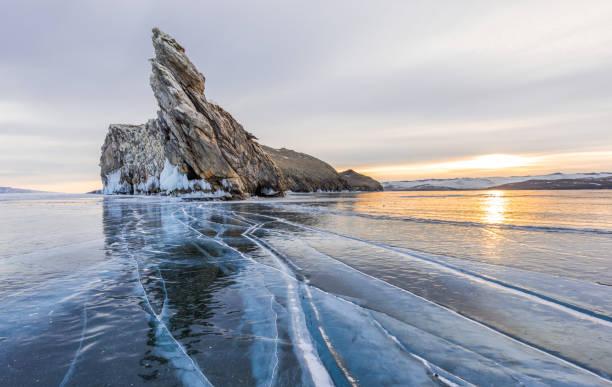 Frozen Lake Baikal near Ogoy island, Russia stock photo