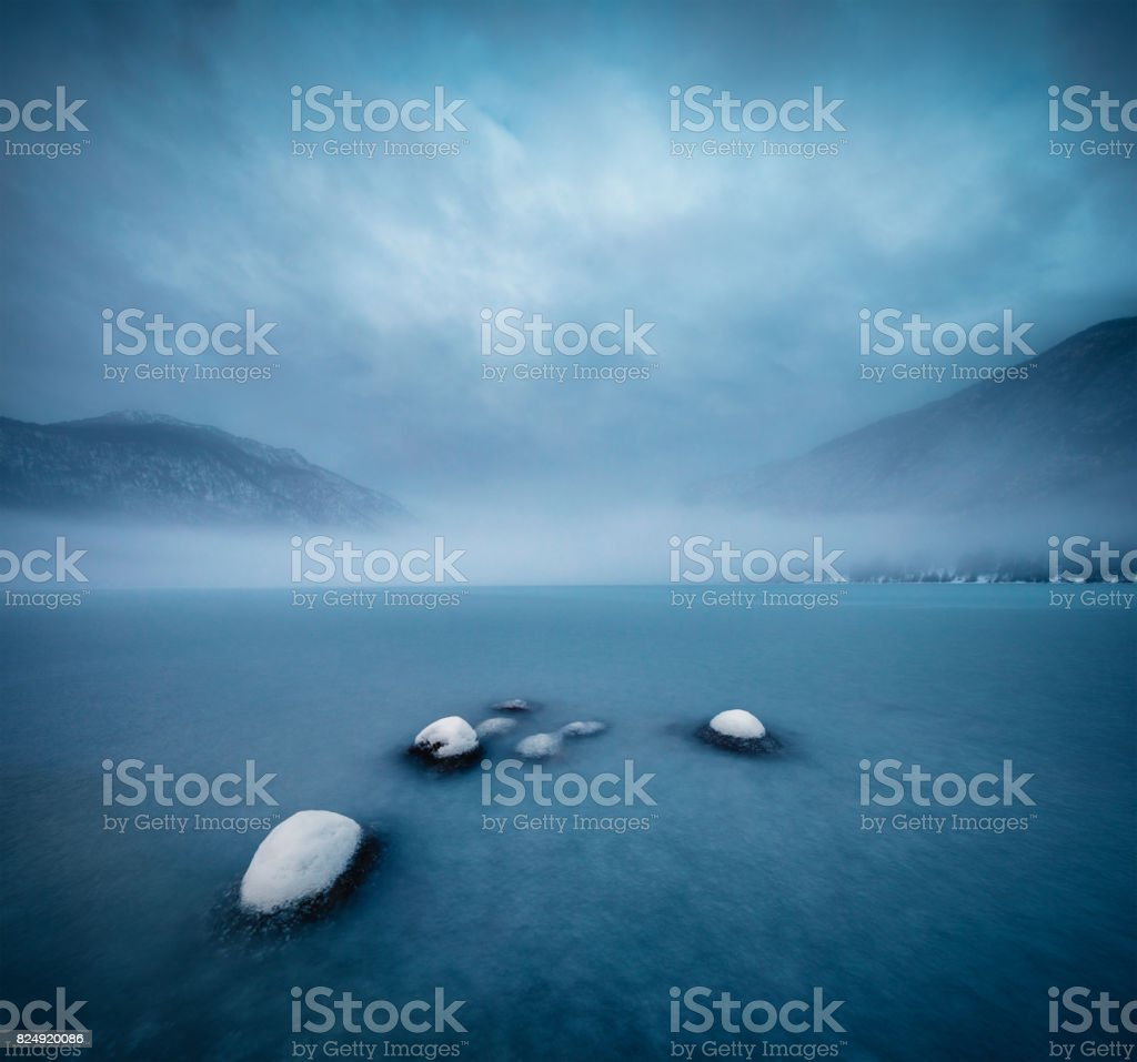 Frozen Lake Bohinj In Winter stock photo