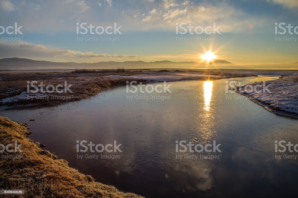 Frozen lake Cerknica stock photo