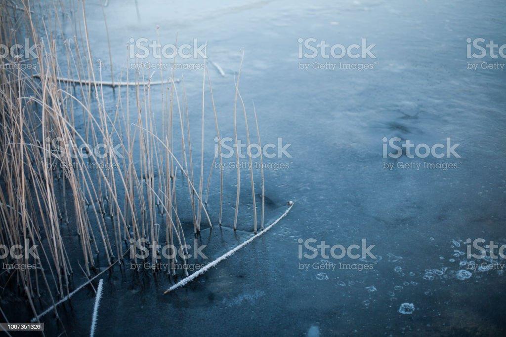 Zugefrorenen See mit blauen Eis bedeckt – Foto