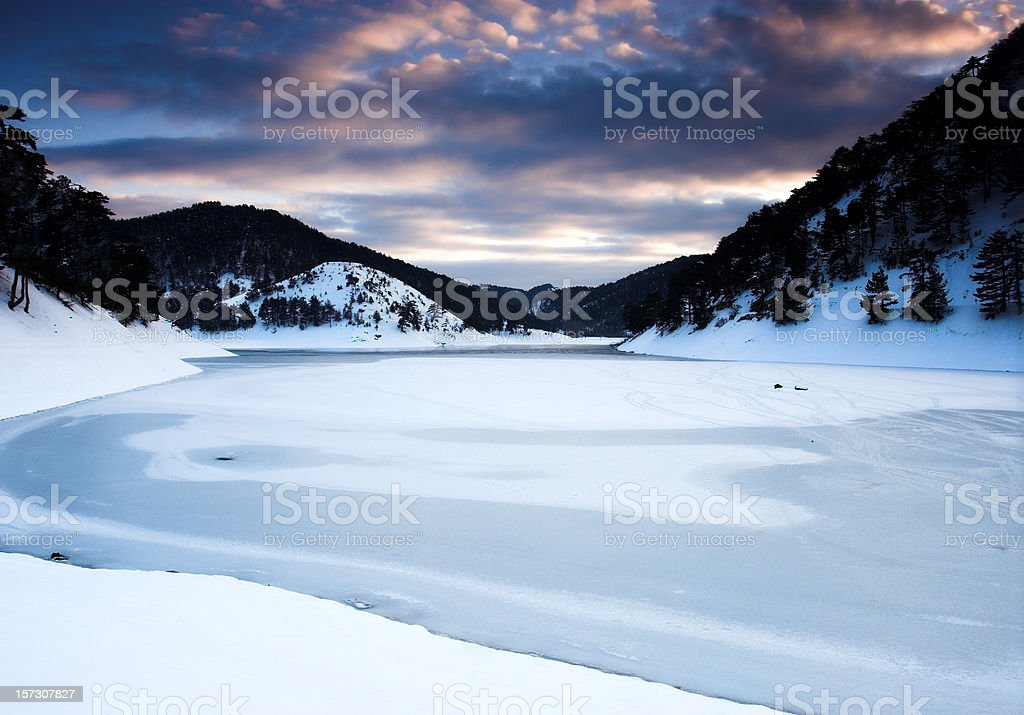 A frozen lake during the winter stock photo