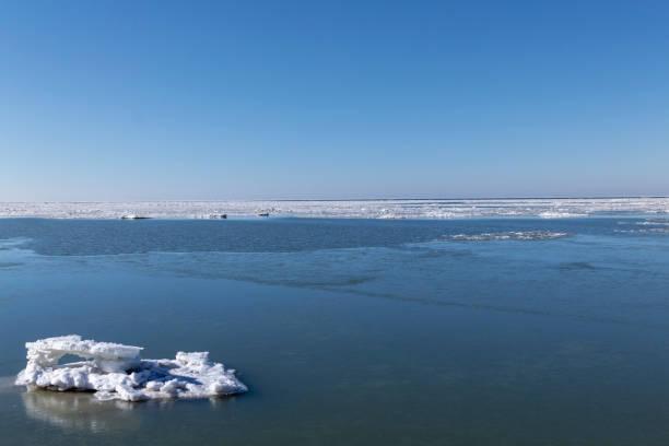 Frozen Lake Erie Iceberg, Northeast Ohio stock photo