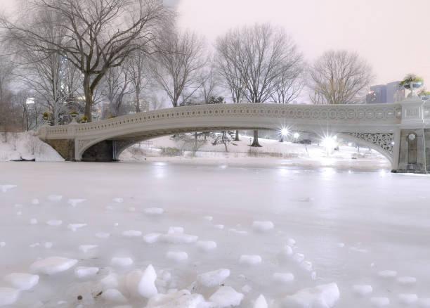 Frozen Lake in Central Park, New York stock photo