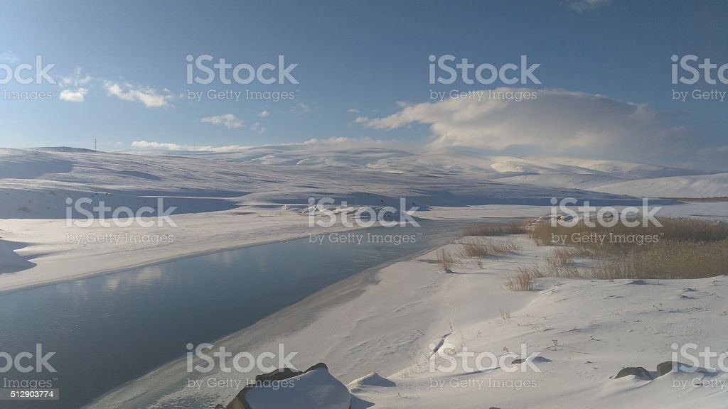 Frozen Lake, Kars, Turkey stock photo