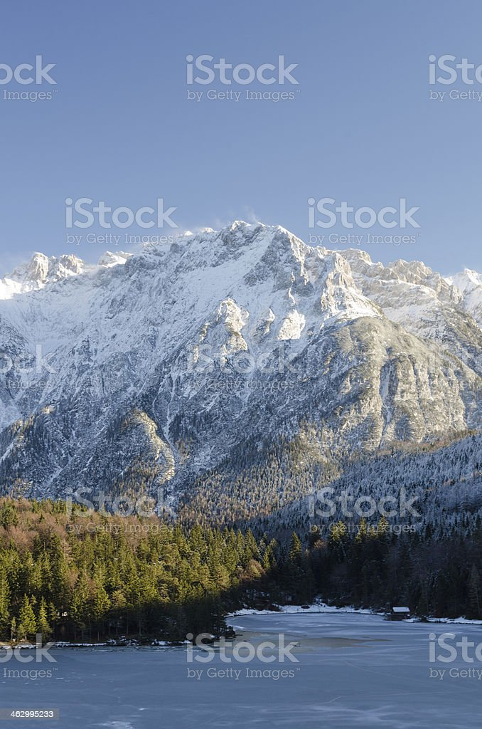 Frozen Lake Lautersee near Mittenwald stock photo