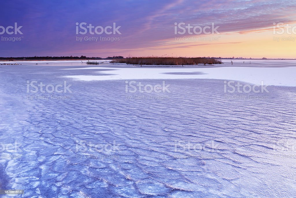 Frozen lake Leekstermeer in Drenthe, The Netherlands in winter royalty-free stock photo