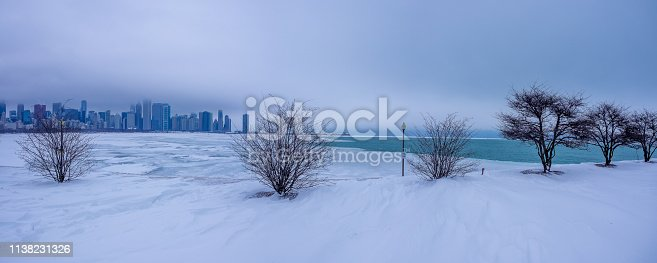 Frozen Lake Michigan and the Chicago skyline