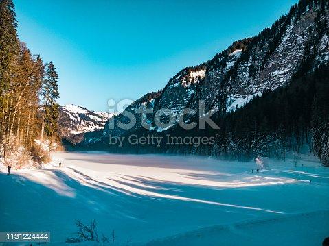 frozen lake mountain alps