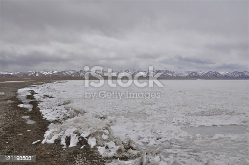 A frozen Lake Namtso, a salt water lake at an altitude of 4,718 meters, in Tibet