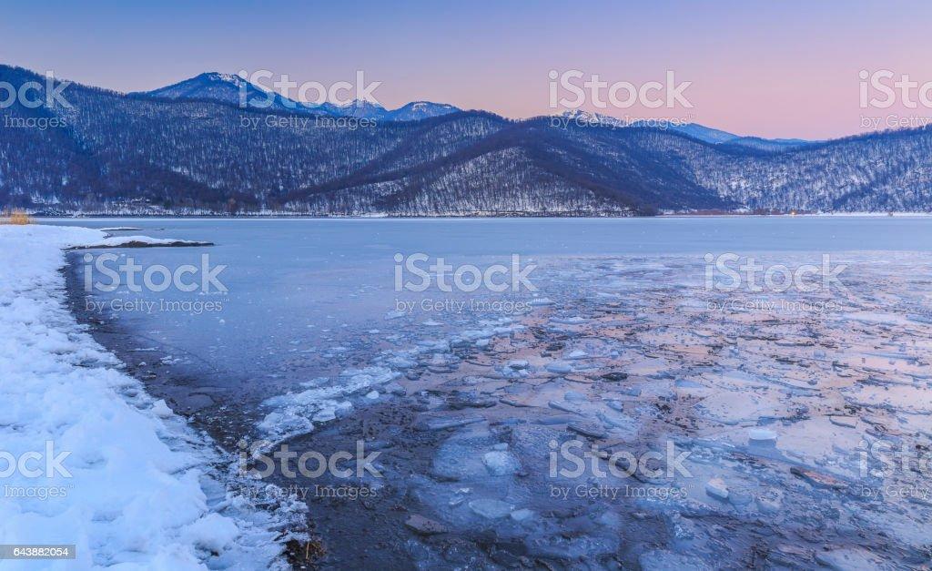 Frozen lake Nohur.Gabala.Azerbaijan stock photo