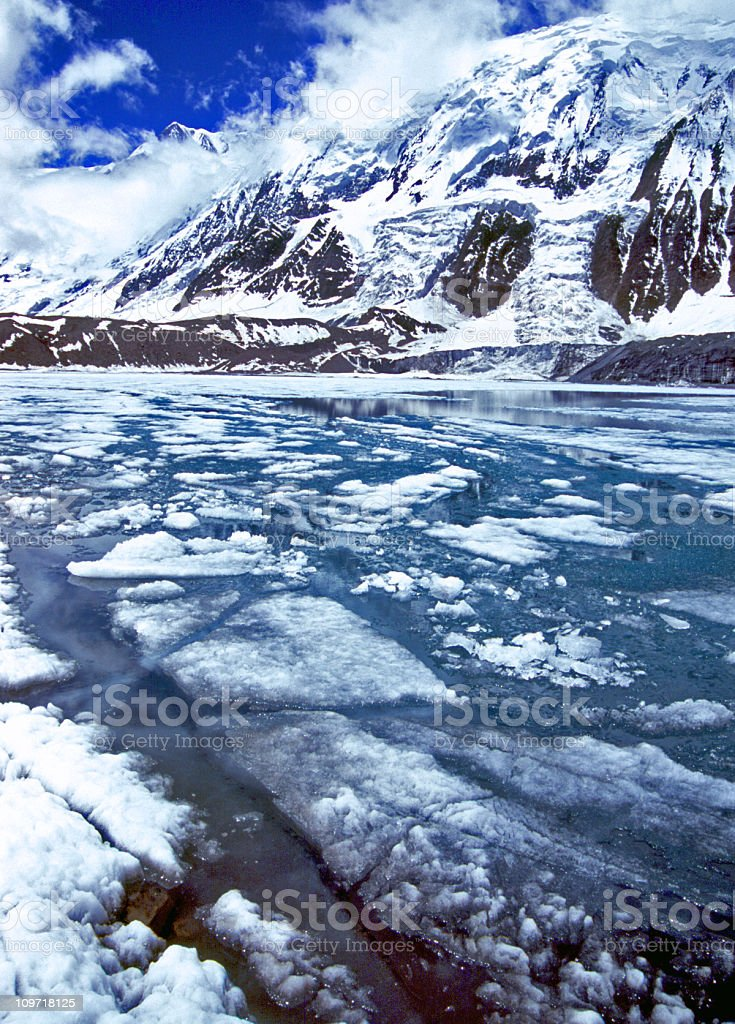 Frozen Lake Tilicho royalty-free stock photo