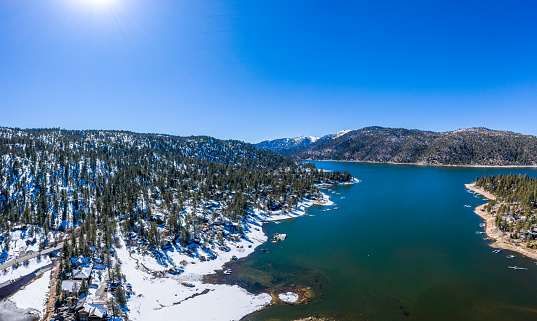 A fresh blanket of snow brings a new version of beauty to Big Bear Lake. Image Captured from an aerial drone at an altitude of 100 meters